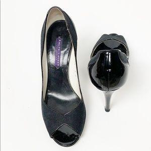 Ralph Lauren Collection Black Peep Toe Patent Heel
